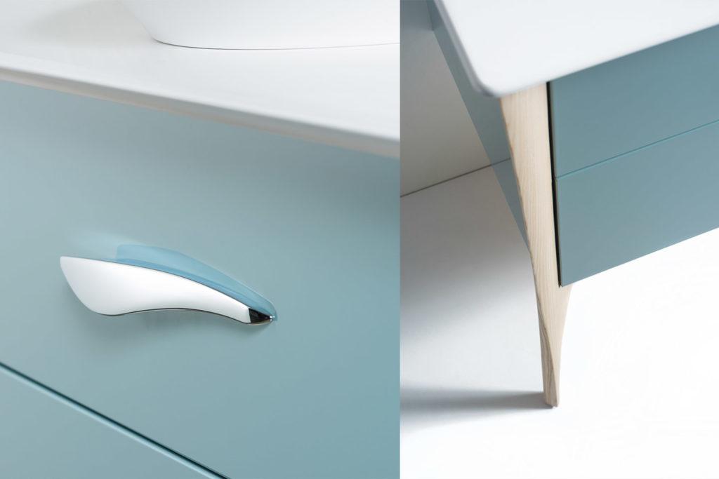 Poignée et pieds meuble double vasque Organic