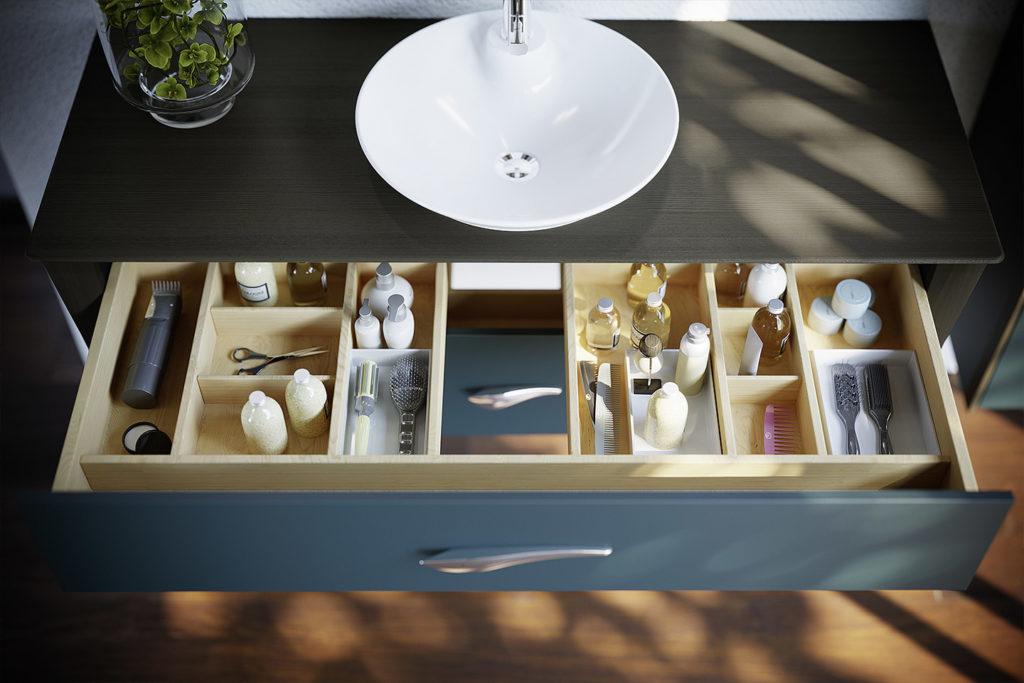 Tiroir meuble double vasque Organic par DECOTEC