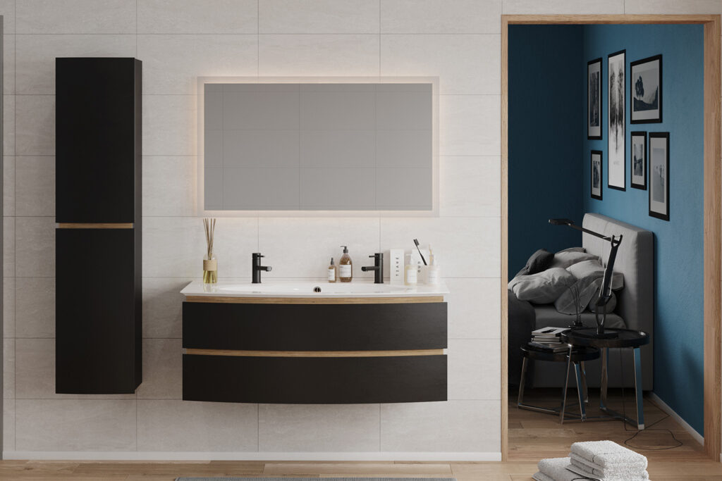 Meuble de salle de bains avec vasque et Colonne Bel Ami par DECOTEC